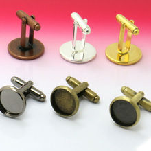 100X Wholesale six color French Cufflink/Cuff link Base W/Inner 16/18/20mm Cameo Cabochon Setting Disc Tray