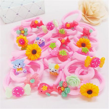 2017 New Arrival 10 Pcs Bow Headband Korean Pink Girls Towel Flower Elastic Hair Bands Accessories Rope Ties Princess Cute Gift(China)