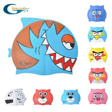 Yonsub Cartoon Pure Silicone Swimming Cap Swimming Training Children's Hat Stretch Waterproof Swimming Cap Free Shipping(China)