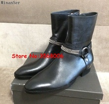 금속 체인 Rome Style Men 첼시 Boots Round Toe 츠 Ankle Boots 화 Newest Suede 가죽 Motorycycle Boots Shoes Man(China)