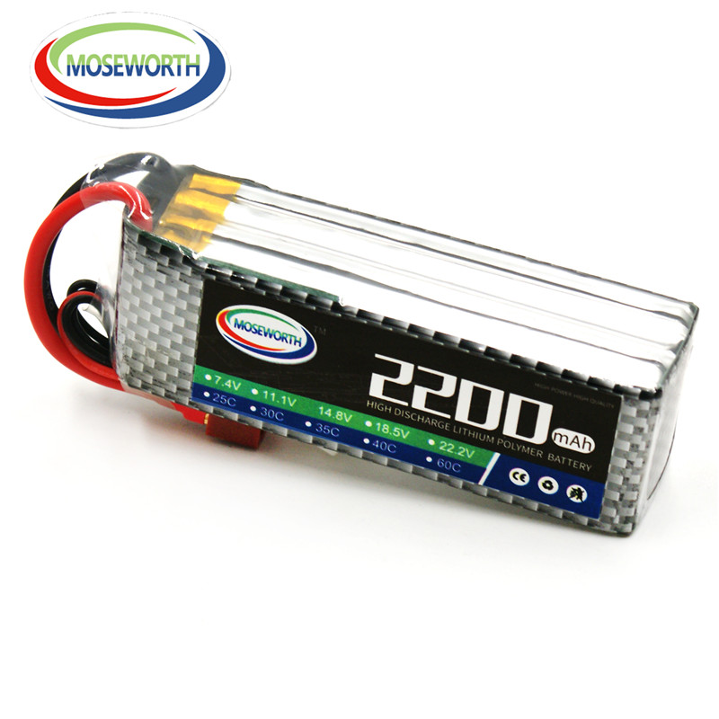 MOSEWORTH 4S RC lipo battery 14.8v 2200mAh 60C For rc helicopter rc car rc boat quadcopter Li-Polymer batteria<br>