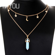 IF YOU 6 Colors Hand Made Lucky Stone Necklaces & Pendants For Women Star Moon Geometric Boho Chain Necklaces Female Jewelry(China)