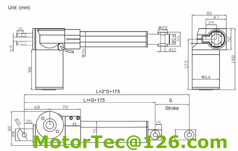 Linear actuator drawing