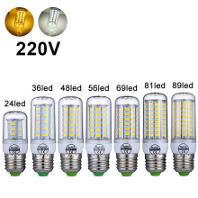 220V 240V Mini LED Lamp E27 SMD5730 LED Corn Light Lampada LED Bulb High Lumen 24/36/48/56/69LEDs Chandelier Lights Home Decor(China)