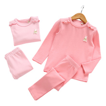 2018 High Quality Baby Girls Wool Cotton Thermal Underwear Set Children Long Johns Toddler Kids Solid Clothing Pajamas Set 1-5Y(China)
