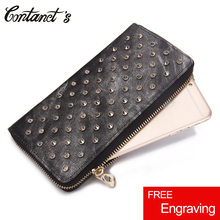 Fashion Genuine Leather Wallet Women Long Zipper-Around Cell Phone Wallet Unique Design Rivet Lady Purse Clutch With Coin Pocket(China)