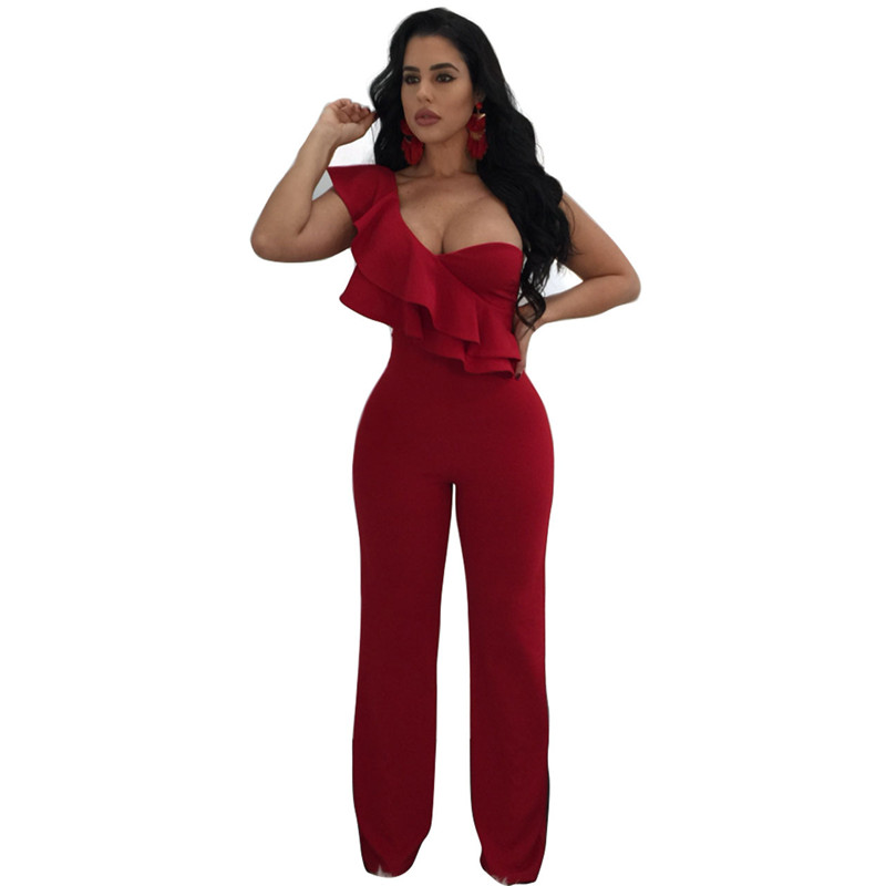 sexy red one shoulder ruffles long jumpsuit-7