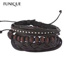 FUNIQUE Multilayer Bracelet Men Casual Fashion Braided Leather Bracelets For Women Wood Bead Bracelet Punk Rock Men Jewelry(China)