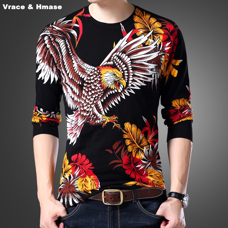 Chinese style 3D eagle pattern printing fashion casual thin sweater Autumn&Winter 2017 New top quality knitted sweater men M-4XL