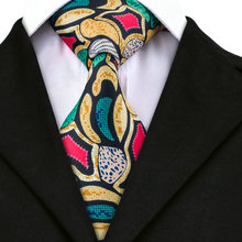 DN-1215 New Arriving Novelty Tie Yellow Printed Neck Tie New Brand Hi-Tie Fashion Design for Mens Business Wedding Party(China)