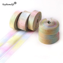 Keythemelife 50 Yadrs snow yarn Ribbon rainbow gradient color DIY Packing Ribbons Gift Wrapping Tape D6(China)