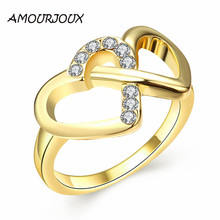 Romantic Hollowed Rhinestone Heart Gold Ring Women Fashion Jewelry Gold Color Wedding Bands Rings For Women Wholesales R070