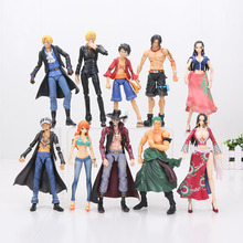16cm One Piece Luffy Ace Zoro Sanji Sabo Law Nami Mihawk MegaHouse Variable Action Heroes PVC Action Figure Model Toy