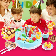 Lovely Play Toy DIY Tool Children play toy Birthday Cake Slice cut Simulation Food Kitchen Toys Lovely Artificial fruit cake