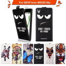 High quality fashion cartoon pattern flip up and down leather case for DEXP Ixion MS250 Sk ,Free gift