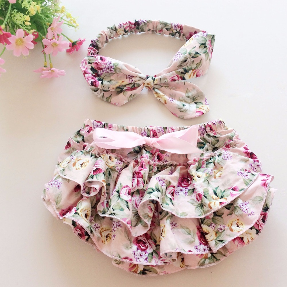 Big discount baby girls cotton vintage floral ruffle bloomers with headband set toddler summer shorts calcinhas diaper covers<br><br>Aliexpress