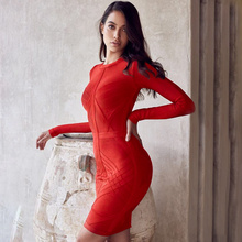 wholesale 2017 winter New dress Fashion long sleeve Elasticity tight celebrity celebrity Cocktail party bandage dress (H2019)(China)