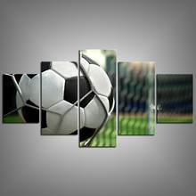 5 Panels Canvas Printed Football Poster Sports Wall Decor Picture Frame Football Paintings Photo Custom Canvas Prints Wholesale