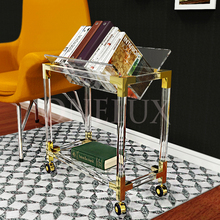 Rolling Crystal Acrylic Lucite Book/Magazine Shelf Table,Plexiglass Side Tables On Wheels KD PACKED-ONELUX Original New Design