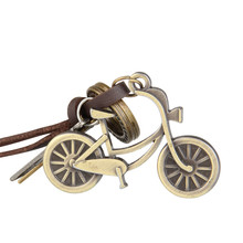 Personality Retro Men Necklace with The Shape of Bicycle Pendant Leather Necklace Male Jewelry