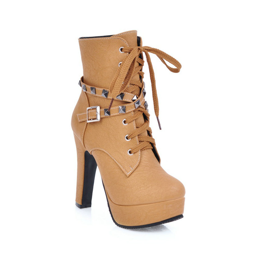 2018 Women's Ankle Boots, Rivet Design Round Toe, Pu Leather, Rubber Square High Heel, Zipper Women Boots 32