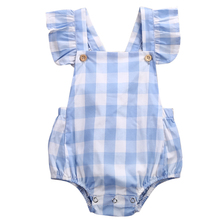 2017 Sweet Baby Girl Clothes Summer Ruffled Sleeves Blue White Plaid Baby Romper Newborn Toddler Kids Jumpsuit Sunsuit Outfits