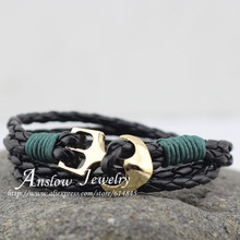 Anslow Brand Fashion Jewelry Gold Color Anchor Wrap Rope Leather Bracelet For Women Men Wholesale Cheap Price Free Shipping(China)