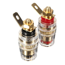 Pro Audio Terminal 2Pcs Amplifier Speaker Terminal Binding Post 4mm Banana Plug Jack Connector 32mm Electrical Accessories(China)