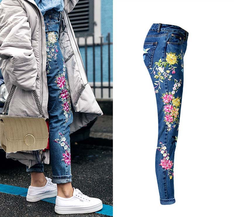 Women\'s three-dimensional 3D heavy process bird flower front and rear embroidery high waist Slim straight jeans large size system (3)