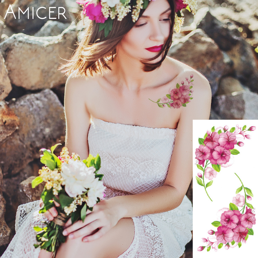 3D lifelike Cherry blossoms rose big flowers Waterproof Temporary tattoos women flash tattoo arm shoulder tattoo stickers 3