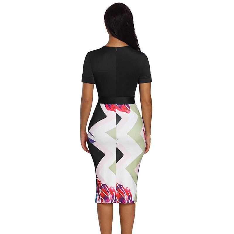 Black-Bowknot-Short-Sleeve-Printed-Sheath-Dress-LC610096-2-2