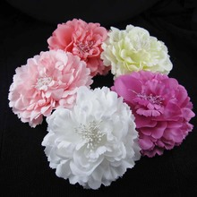 Free shipping! 12pcs/lot 4'' Artificial Flower silk peony flower hair alligator clip brooch pin hair accessory(China)