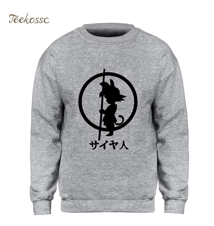 Dragon Ball Sweatshirt Men Super Saiyan Hoodie Gray Crewneck Sweatshirts 2018 Winter Autumn Fleece Warm Slim Fit Streetwear Mens