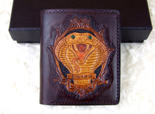 Hong Kong OLG. YAT zodiac Snake carved by hand wallet Men's brief paragraph (vertical)purse/ wallet Italy  pure leather wallets