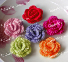 free shipping 8 pic/lot crochet lace flowers for Christmas cotton knitted rose  decoration garment patched DIY material applique