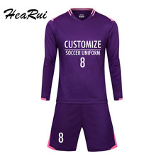 Hearui Football uniform Long sleeves Breathable Men's Youth Soccer Jerseys Kit custom survetement football 2017 Training suit(China)