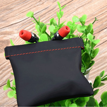 Black Earphone Accessories Case Bag PU Leather Earphone Case Portable Bag