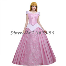 Custom Made Movie Sleeping Beauty Cosplay Costume Pink Long Embroidery Elegant Sleeveless Adult Celebrity Party Dress D052470