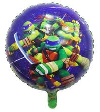 18inch Free Shipping 2pcs/lot Teenage Mutant Ninja Turtles The Round SHaped Foil Balloons Globos Birthday Party Supplies