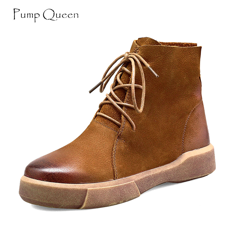 PumpQueen Vintage Women Boots Shoes Genuine Leather Casual Boots for Woman Black Brown Female Shoes Round Toe botas mujer Size40<br>