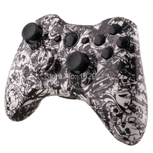 NEW Custom Hydro Dipped White Skull Ghost Shell Parts for Microsoft Xbox 360 Wireless Controller with tools Free Shipping