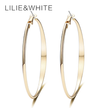 LILIE&WHITE 2017 Classic Big Hoop Earrings For Girls Gold-color Fashion Earrings For Women Earrings Hoop Gift HC