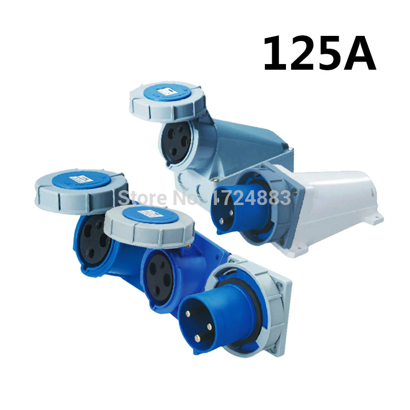 125A 3 pole connector Industrial male&amp;female sockets SFN-1432/SFN-3432/SFN-4432/SFN-5432/SFN-6432 waterproof IP67 220-250V~2P+E<br>
