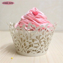2017 New 50pcs Laser Cut Leaf Cupcake Wrapper Wedding Favors Party Supplies Decoration Birthday Party Decoration