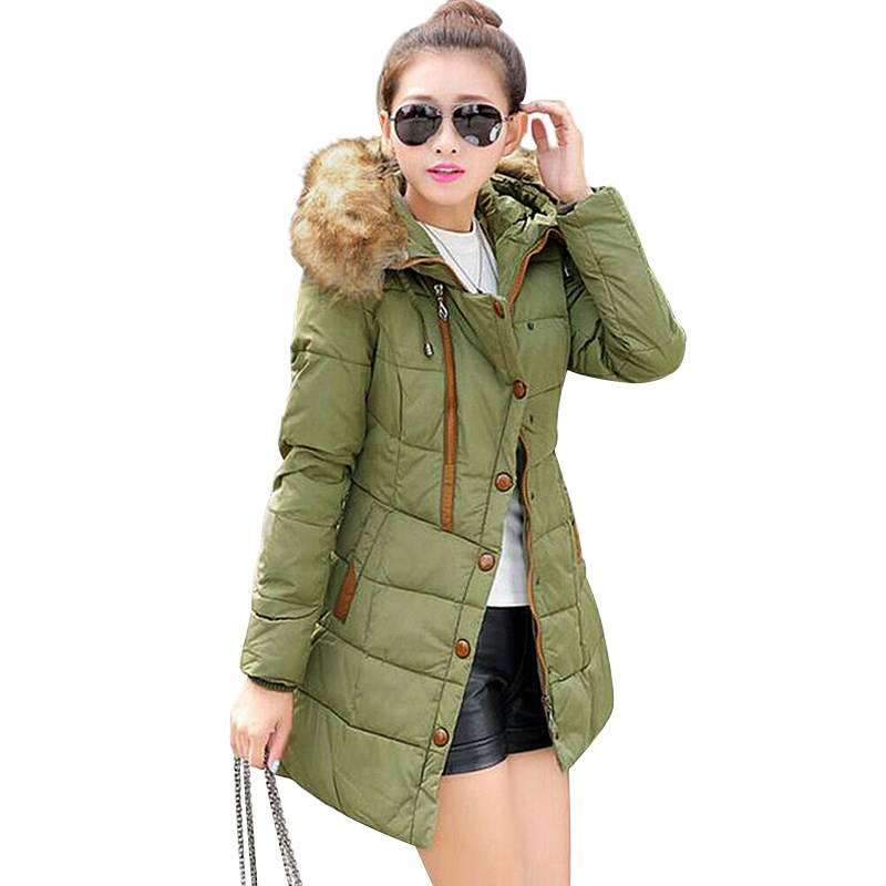 2017 New Fashion Women Winter Warm Parka Long Sleeve Hooded Fur Collar Zipper Solid  Long Coat Outwear Thickening Cotton JacketОдежда и ак�е��уары<br><br><br>Aliexpress