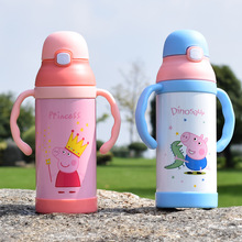 Cute Pig Stainless Steel Thermos With Handle Flasks Kid's Cartoon Thermal Insulation Water Bottle Sweet Gift for Children SZWL-1(China)