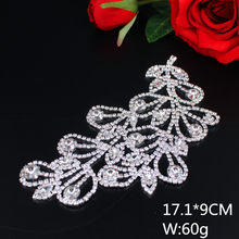 17.1 9cm Luxury Silver Flat back Leaf Patch Clear White Glass Rhinestone  Applique for Wedding Gown Dresses Sew on Costume Trims 5ea1ca904743