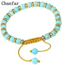 Chanfar 6MM Turquoises Green Natural Stone Bracelet Alloy Spacer bead Wax Cord Adjustable Size Handmade Bracelet(China)