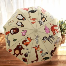 Cute animal umbrella automatic umbrella / three folding umbrellas giraffe and owl creative design gift automatic switch parasol(China)