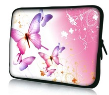 "10"" Pink Butterfly Soft Neoprene Sleeve Case Bag Cover Pouch For 9.7""-10.2"" HP Dell Acer Samsung ASUS Netbook Laptop Tablet PC"